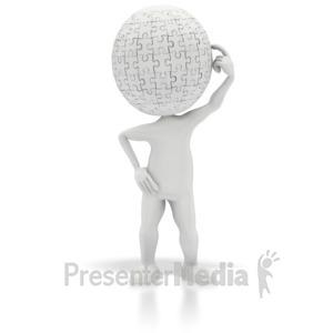 ID# 2565 - Puzzle Head Thinking - Presentation Clipart