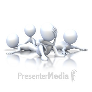 ID# 2568 - Stick Figure Group Tired and Confused - Presentation Clipart