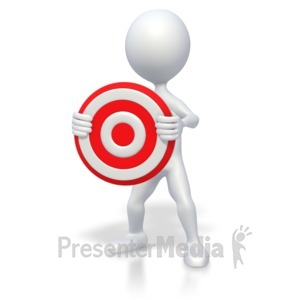 ID# 2592 - 3D Stick Figure Holding Target - Presentation Clipart