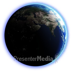 ID# 2596 - Earth Dark Side City Lights - Presentation Clipart