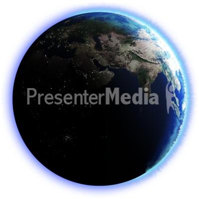 Earth Dark Side City Lights PowerPoint Clip Art