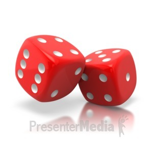 ID# 2599 - Pair Of Red Dice Tilted - Presentation Clipart