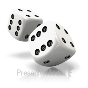 ID# 2605 - Pair Of White Dice Rolled - Presentation Clipart