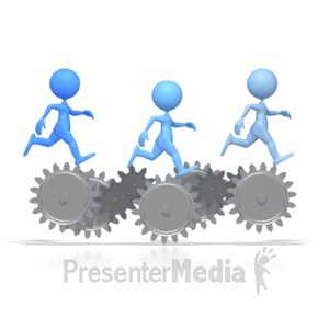 ID# 2606 - Stick Figures Running On Gears  - Presentation Clipart