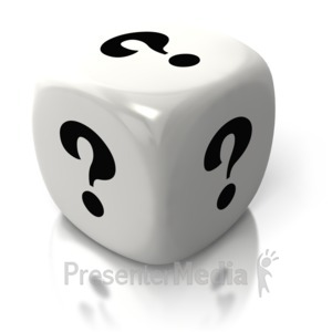 ID# 2607 - Question One White Dice - Presentation Clipart