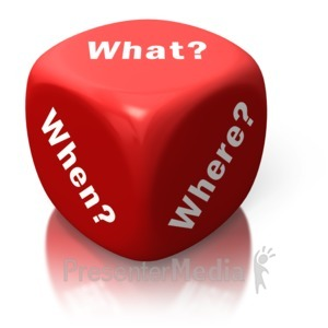 ID# 2609 - What When Where Red Dice - Presentation Clipart