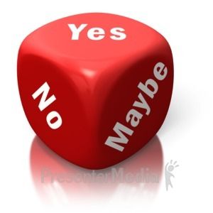 ID# 2612 - Yes No Maybe Red Dice - Presentation Clipart