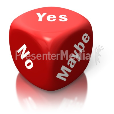 Yes No Maybe Red Dice PowerPoint Clip Art
