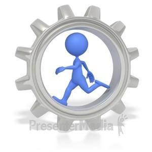 ID# 2628 - Stick Figure Running In Gear  - Presentation Clipart