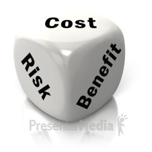 ID# 2632 - Cost Benefit Risk White Dice - Presentation Clipart