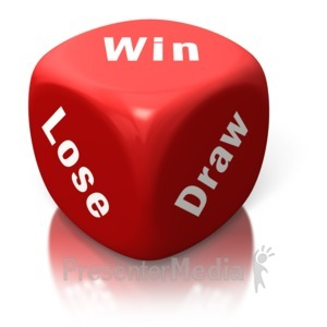 ID# 2633 - Win Lose Draw Red Dice - Presentation Clipart