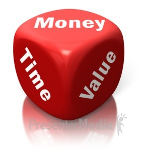 ID# 2635 - Money Time Value Red Dice - Presentation Clipart