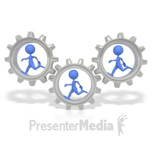 ID# 2639 - Stick Figures Running In Gears  - Presentation Clipart