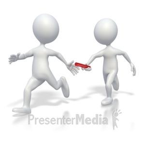 ID# 2640 - Passing Baton Teamwork - Presentation Clipart