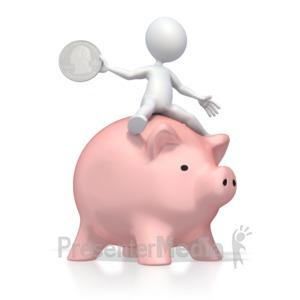 ID# 2643 - Ridding Piggy Bank - Presentation Clipart