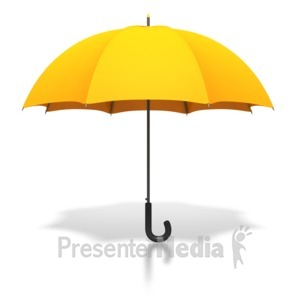 ID# 2669 - Gold Umbrella Standing Upright - Presentation Clipart