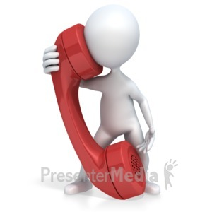 ID# 2697 - 3D Figure Talks on a Giant Phone - Presentation Clipart