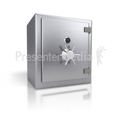 Steel Safe Closed PowerPoint Clip Art