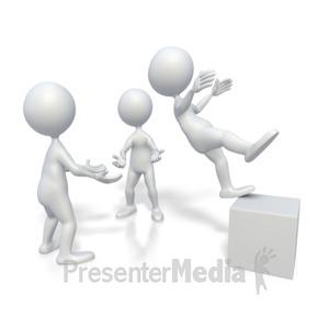 ID# 2701 - Stick Figure Trust Fall  - Presentation Clipart