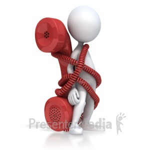 ID# 2703 - Figure Tied To Phone - Presentation Clipart