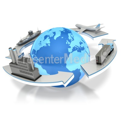 Logistc Earth Arrows PowerPoint Clip Art