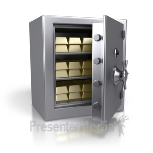 ID# 2708 - Steel Safe Containing Gold Bars - Presentation Clipart