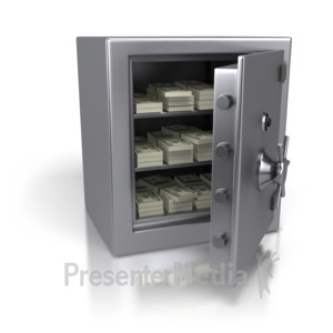 ID# 2709 - Steel Safe Containing Cash Dollars - Presentation Clipart