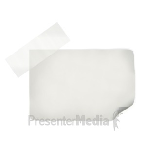 ID# 2712 - White Note With Tape - Presentation Clipart