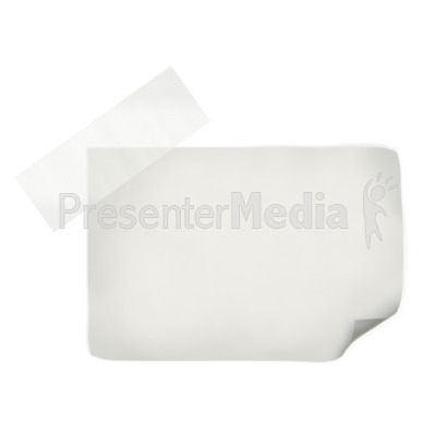 White Note With Tape PowerPoint Clip Art