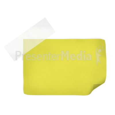 Yellow Note With Tape  PowerPoint Clip Art