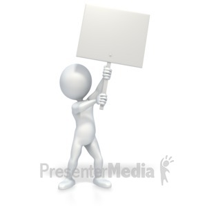 ID# 2715 - 3D Stick Figure Holding Picket Sign - Presentation Clipart