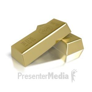 ID# 2721 - Two Gold Brick Bars - Presentation Clipart
