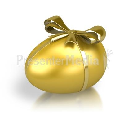 Gold Nest Egg Ribbon PowerPoint Clip Art