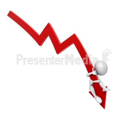 Arrow Down Stick Figure Falling PowerPoint Clip Art