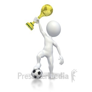 ID# 2739 - Holding World Soccer Trophy - Presentation Clipart