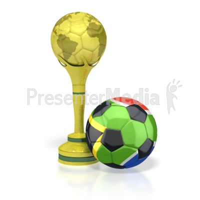 South Africa Soccer Ball with Trophy PowerPoint Clip Art