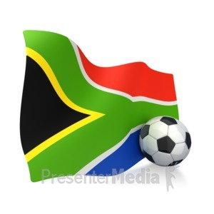 ID# 2746 - South African Flag With Soccer Ball - Presentation Clipart