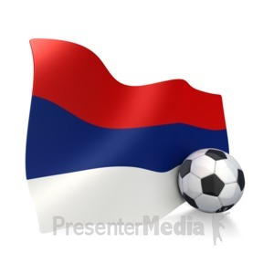 ID# 2757 - Serbia Flag With Soccer Ball - Presentation Clipart