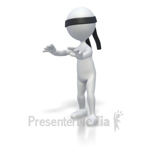 ID# 2764 - Blindfolded Stickman - Presentation Clipart