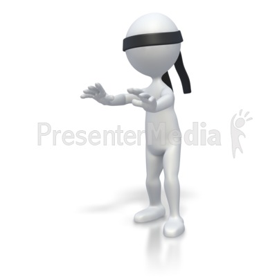 Blindfolded Stickman PowerPoint Clip Art
