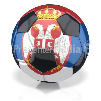 Serbia Soccer Ball  PowerPoint Clip Art