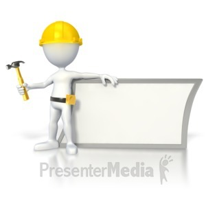 ID# 2791 - Construction Stick Figure by Sign  - Presentation Clipart