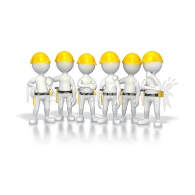 Stick Figure Construction Group PowerPoint Clip Art