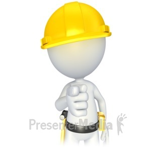 ID# 2794 - Construction Stick Figure Pointing - Presentation Clipart
