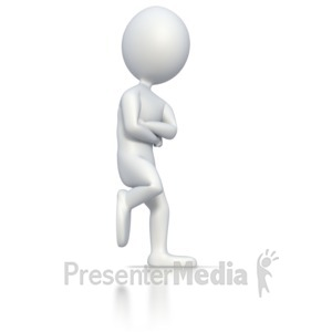 ID# 2796 - Stick Man Leaning On Wall  - Presentation Clipart