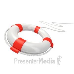ID# 2834 - White Life Buoy Rescue - Presentation Clipart