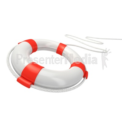 White Life Buoy Rescue PowerPoint Clip Art