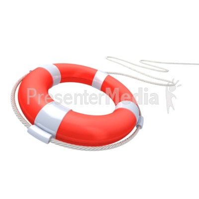 Red Life Buoy Rescue PowerPoint Clip Art