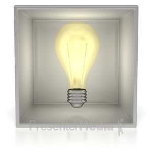 ID# 2836 - Light Bulb In Box  - Presentation Clipart