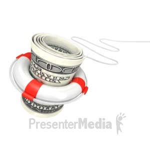 ID# 2837 - White Life Buoy Save Dollar - Presentation Clipart